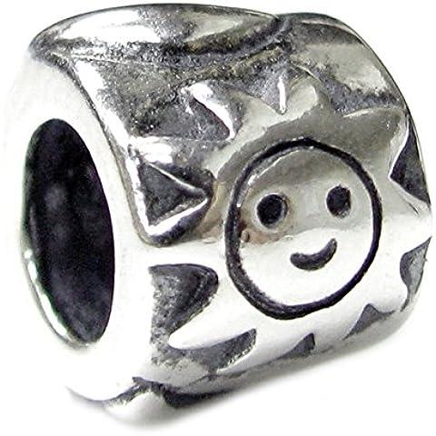 Queenberry 1 con Smile Happy Face in argento Sterling, motivo: sole, luna, stella Family con Charm per Pandora, Biagi, Troll, Chamilia europea