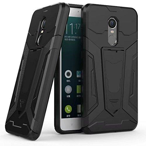 Neue Rüstung Tough Hybrid Dual Layer Rüstung Verteidiger PC Hard Shell Cover mit Kickstand [Shockproof Case] Für Xiaomi Hongmi Redmi Hinweis 4x ( Color : Black ) Black