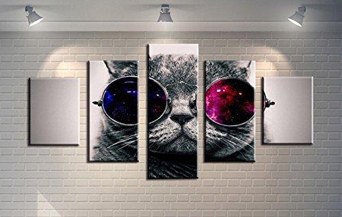 Wowdecor Wandbild, 5-teilig, Leinwand Malerei Prints für mehrere Bilder-Brille mit Katze Giclée Bilder Bild auf Leinwand, Poster, Wall Decor Geschenk, ungerahmt, violett, Large
