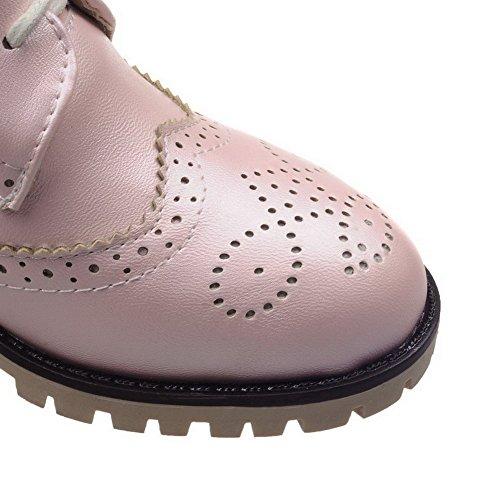 AllhqFashion Femme Couleur Unie Pu Cuir à Talon Correct Fermeture D'Orteil Rond Lacet Chaussures Légeres Rose