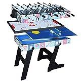 Lcyy-game Deluxe Plegable 4 en 1 Mesa de Juego Superior de múltiples Funciones de Mesa combinada Constante de Tenis (Ping Pong), Glide Hockey, futbolín, Pool Set para niños y niños Azul