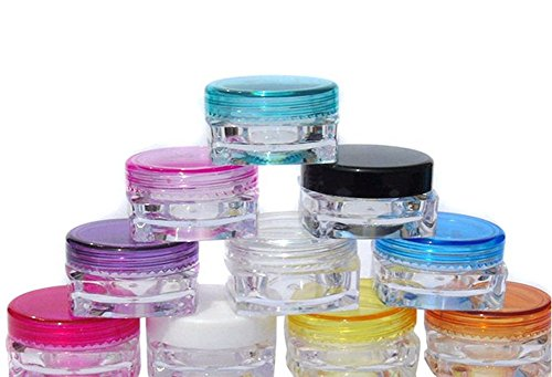 24 pcs 3g Crème carré vides rechargeables bocaux échantillons de conteneurs de boîtes de bouteilles avec pot de fleurs rond Bouchon à vis Pour Maquillage/fard à paupières/poudre et perles Couleurs assorties