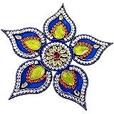 Unique Arts Beautiful Blue Petals Acrylic Rangoli - AR108