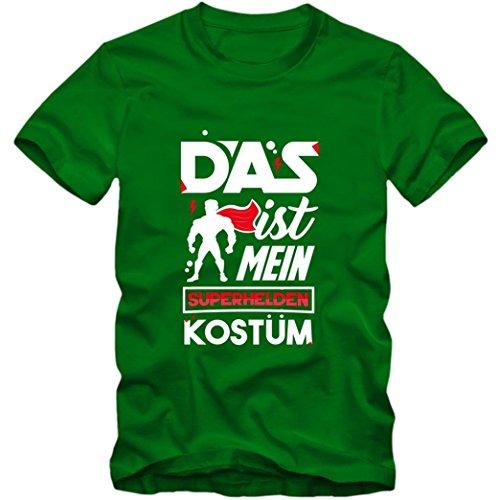 (Verkleidung Superheld Premium T-Shirt   Kostüm   Karneval   Fasching   Kinder   Shirt, Farbe:Hellgrün (Kelly Green L190k);Größe:12 Jahre (142-152 cm))