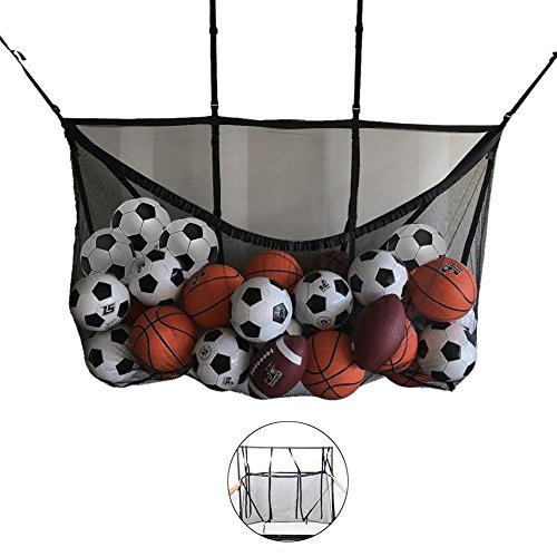 Tcbz Extra große Sport Kordelzug Netztasche mit Strap & Haken, Trainingsausrüstung Aufbewahrungstasche, Fußball/Basketball/Clutter Storage Net Bag