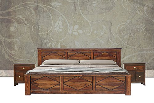 Furniselan King Size Bed With 2 BedSide in Teak Finish