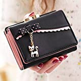 good01 Ladies Elegant Bowknot Cat Pendant Trifold Short Wallet Coin Purse Card Holder (Black)