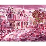 lixb Rahmenlose Wandkunst DIY Ölbilder Malen nach Zahlen Handgemalte Leinwand Gemälde für Schlafzimmer Candy House 40x50 cm