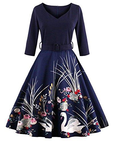 06874cd4ac9 ZAFUL Mujer Elegantes Vestido Retro Vintage Verano Vestidos de Fiesta Noche  Tallas.
