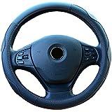 Semoss Coprivolante Auto in vera Pelle con Anti Scivolo Rosso Line,colore: Nero,dimensione:37-38cm