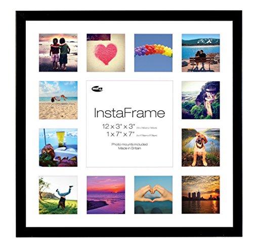 Inov8 16 x 16 Insta-Rahmen Fotorahmen, für 13 Fotos, Instagram, quadratisch, mit weißer Halterung und weißen Satin-Einsatz, schwarz -