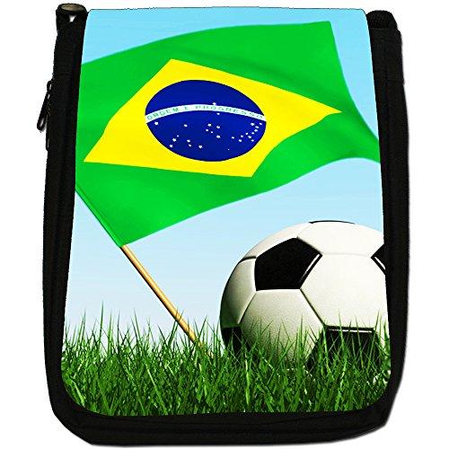 &, motivo: bandiera inglese con pallone da calcio, colore: nero, Borsa a tracolla in tela, colore: nero, taglia: M Nero (Brazil Flag with Football)