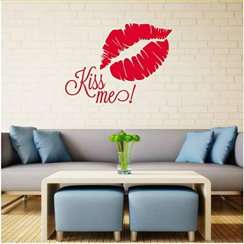 Wandaufkleber Vinyl Aufkleber Zitat Kiss Me Lips Romantisches Dekor 56X42cm