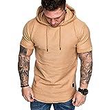 PowerFul-LOT T-Shirt à Capuche Homme Tee Shirt Manche Courte Chemise à Capuche décontractée d'été pour Homme à Manches Courtes T-Shirt Blouse Malloom Hiver Chaud de Poche Hooded Pull Tonsi