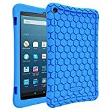 FINTIE Silicone Custodia per all-New Fire HD 8 (Compatibile con 7th e 8th Generazione Tablets, 2017 e 2018 Releases) - [Serie Honey Comb] Ultra Leggera Case Protettiva Antiurto Cover, Blu