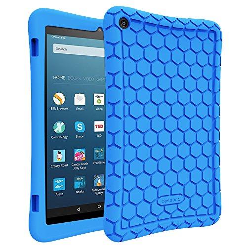 Fintie Hülle für Amazon Fire HD 8 Tablet (7. und 8. Generation - 2017 und 2018) - Leichte Rutschfeste Stoßfeste Silikon Tasche Case Kinderfreundliche Schutzhülle, Blau