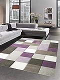 Carpetia Moderner Teppich Kurzflor Teppich Karo Pastell lila beige Creme braun Größe 160x230 cm