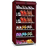 Ebee Store Shoe Rack with 6 Shelves (Maroon)