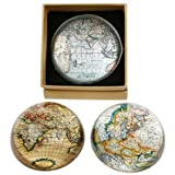 CARTOGRAPHY / WORLD MAP Semi-spherical GLASS PAPERWEIGHT (x1)- 8cm by Shudehill