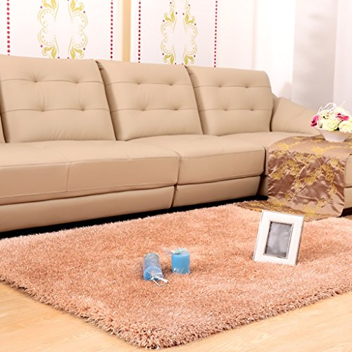 Creative Light Shaggy Teppich Einfarbig 4,2 cm Dicken Stapel Shag für Wohnzimmer Schlafzimmer Studie Weiche Gemütliche Shag Bereich Teppich Bodenmatte (Farbe : Light Light Tan, Größe : 1.2m*1.7m) - Rechteck, Tan Teppich