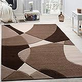Paco Home Tappeto di Design Moderno Motivo Geometrico Taglio Sagomato Marrone Crema Beige, Dimensione:120x170 cm