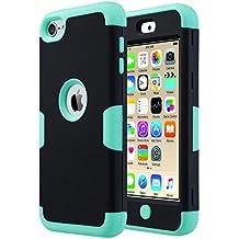 ULAK - Cover per iPod Touch 6 / 5 Case -iPod Touch 6 Custodia ibrida a protezione integrale con parte esterna in 3 strati di morbido silicone e interno rigido per Apple iPod Touch 6 / 5 Generation(Nero + Verde)