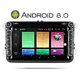 Yingly 8 Zoll Android 8.0 Autoradio für VW Golf Passat Skoda Jetta Seat mit DVD-Player GPS Navi Radio Bluetooth Unterstützt DAB WIFI Rückfahrkamera Lenkradsteuerung 1080 P Video 8 GB Kartenmaterial