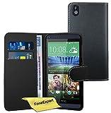 FoneExpert® Wallet Case Flip Cover Hüllen Etui Ledertasche Lederhülle Premium Schutzhülle für HTC Desire 816 + Displayschutzfolie (Schwarz)