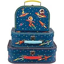 Juego de 3 valijas para equipaje con diseño espacial retro.