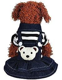 Fossrn Ropa Perro Invierno Chihuahua Yorkshire Pomerania Cachorro Vestido Correa de Gato Falda de Mezclilla Mascota