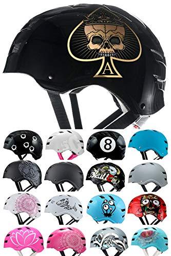 Skullcap® BMX Helm - Skaterhelm - Fahrradhelm - Herren Damen Jungs & Kinderhelm, schwarz-Gold, Gr. L (58-61 cm), Ace of Spades