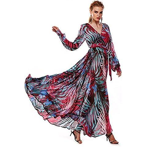 Reaso Femmes Robe, Col V Manche Longue Haut taille Motif feuille Maxi Robe de Plage (Asie XL,
