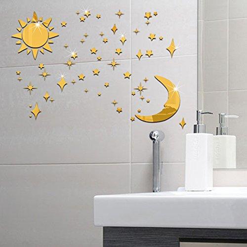 GOUZI Moderne tv-wand Dekoration 3d sonne mond sterne eine Wand Aufkleber abnehmbare Wall Sticker für Schlafzimmer Wohnzimmer Hintergrund Wand Bad Studie Friseur - Badezimmer Sonne Und Sterne Mond