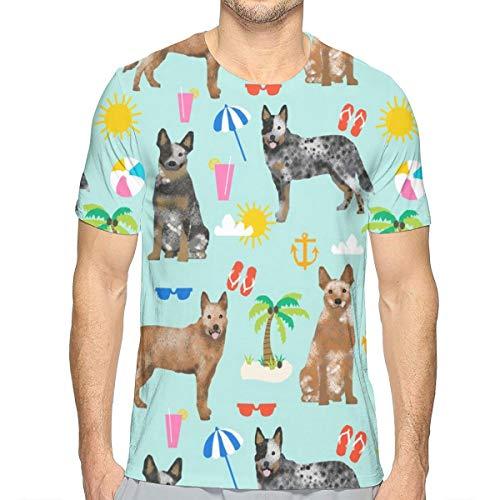 Tessuto per bovini australiani Tessuto per Scarpe da Tennis e Tacchi Blu e Rossi - Light Blue_542 Mens Moda T-Shirt per Uomo con Maniche Corte Design Camouflage Slim Fit T Shirt L