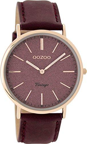 Oozoo Vintage Damenuhr Flach Lederband 40 MM Rose/Glitzer/Weinrot C8197