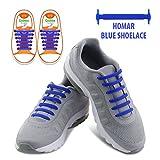 HOMAR Reflective Kinder No Lock No Tie Shoelaces mit High Performance - Best in No Tie Schnürsenkel Ersatz Zubehör - Athletic Flach Schnürsenkel - Blau
