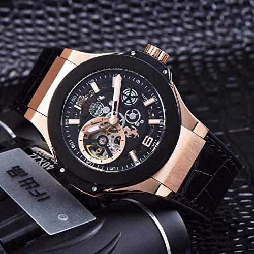 KLMADSB Armbanduhr Herren Uhren Luxusmarke New Men Rose Gold Automatic Mechanische Sapphire Whirlwinds Uhren Glass Back Durchsichtig Schwarzes Leder AAA + Gold Black Lünette (Black Rose Gold Uhren Für Männer)