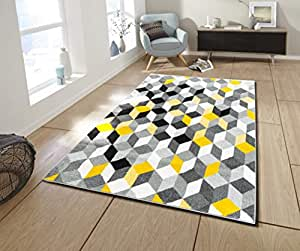 nazar tapis de salon moderne design abstrait couleur et taille differente jaune 50x80cm. Black Bedroom Furniture Sets. Home Design Ideas