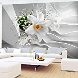 Fototapete Blumen 3D Lilien Weiß 396 x 280 cm Vlies Wand Tapete Wohnzimmer Schlafzimmer Büro Flur Dekoration Wandbilder XXL Moderne Wanddeko Flower 100% MADE IN GERMANY - Runa Tapeten 9179012a
