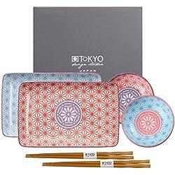 Tokyo Design Studio, Star Wave, Set mit 2 Teller + 2 Schalen + 2 Essstäbchen, 6-tlg., Porzellan aus Japan