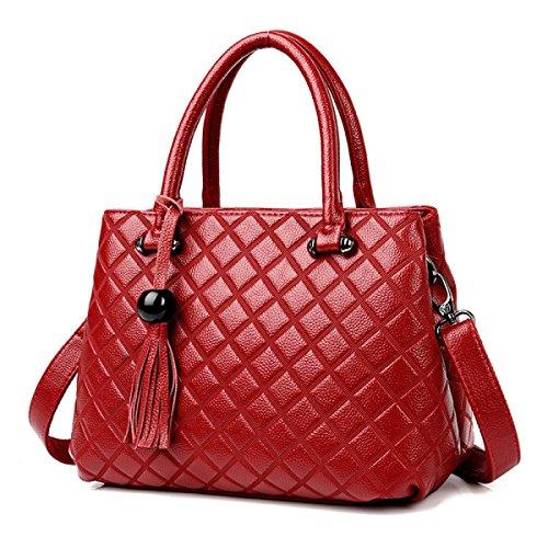 DHFUD Damen Handtasche Schultertasche Umhängetasche Mode Einfach Red