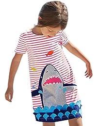 Vestido Para Bebé NiñAs DRESS Start® Vestido Linda ImpresióN De Dibujos Animados Vestidos A Rayas