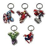 5 x Official Licensed MARVEL HEROES Keyrings Spiderman Ironman Hulk Captain America & Thor
