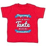 Shirtracer Sprüche Baby - Ich Habe eine verrückte Tante Blau - 12-18 Monate - Rot - BZ02 - Babyshirt Kurzarm