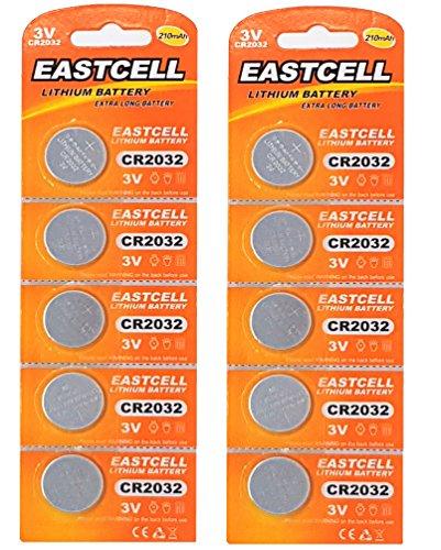 EASTCELL 10 x CR2032 3V Lithium Knopfzelle 210 mAh (2 Blistercards a 5 Batterien) EINWEG Markenware 2 Cr2032 Batterien