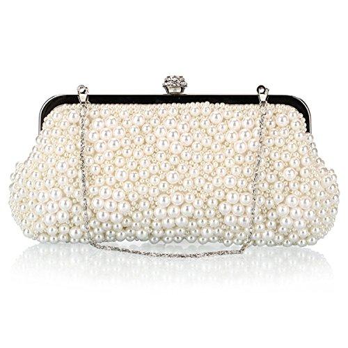 Strawberryer Europe Et Les Etats-Unis Mode Perle Bag Polyester Beads Paquet Messenger Petit Sac Carré Avec Un Sac De Soie Drill Creamy