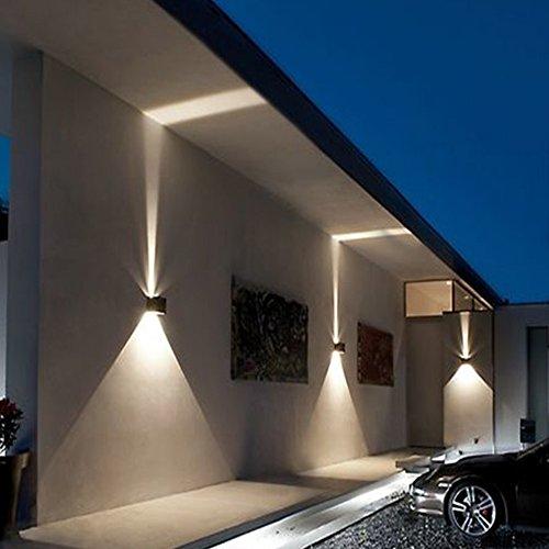 Klighten 2-Pack Buiten-Wandlamp effectlamp Wandlamp LED-lamp lichtfilter IP54met Innen & Außen Warmweiß (Schwarz 7W)