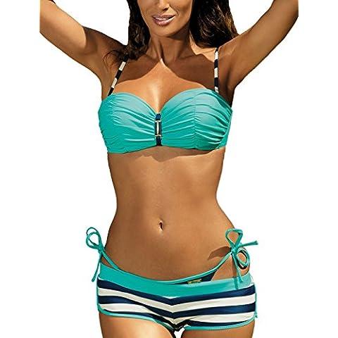 Marko Bridget M-338 Elegante Bikini Set Con Slip Classici E Short In Striscie - Fabbricato (Drappeggiato Top & Gonna A Fessura)