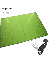 """JTENG 82.7 """"x 78.7"""" pulgadas de tienda de campaña al aire libre huella de la tienda impermeable de Sunproof abrigo de la tienda Tarp groundsheet para Camping de picnic y playa (verde)"""