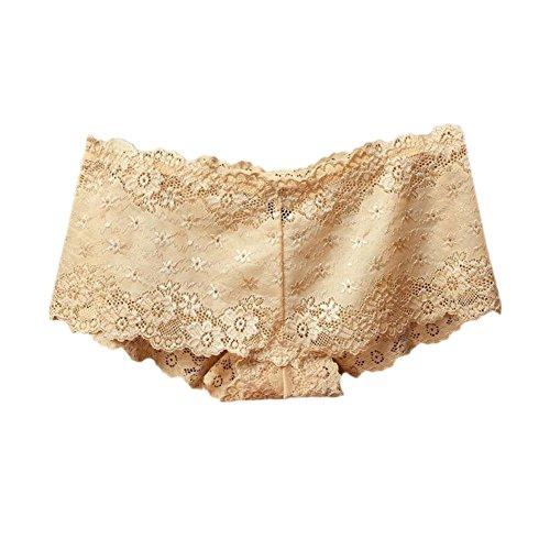 Haodasi 2Pcs Damen Full Lace Transparent Höschen Niedrige Taille Hollow Nahtlos Unterwäsche Nude